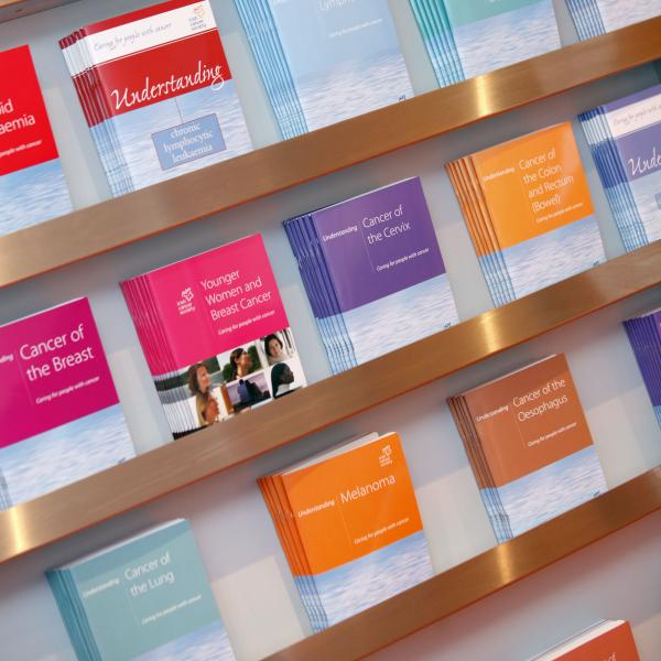 Shelves of cancer booklets