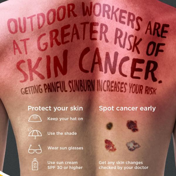 Outdoor workers sun safety poster