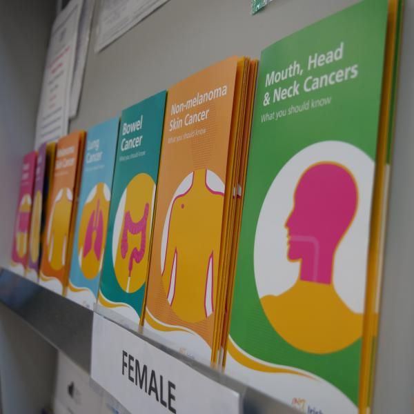 Shelf of Irish Cancer Society cancer publications