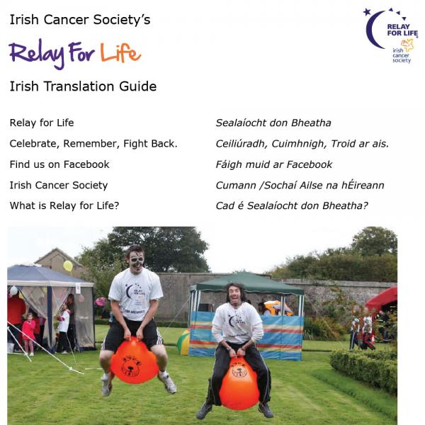 Relay For Life Irish translation guide