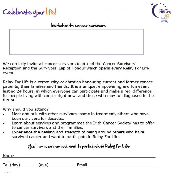 Relay For Life invitation letter to cancer survivors