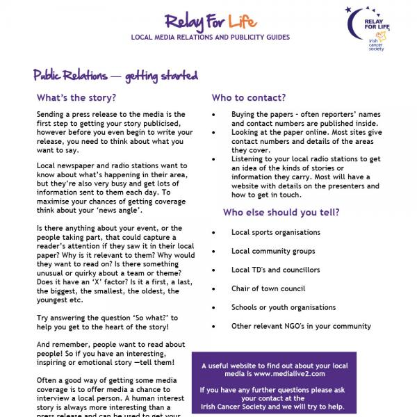 Relay For Life PR guide