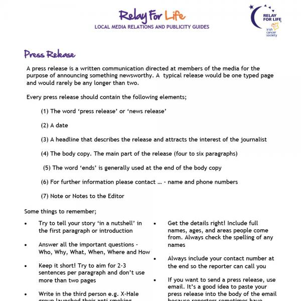 Relay For Life press release guide