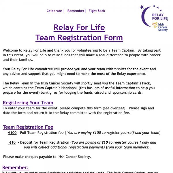 Relay For Life team registration form
