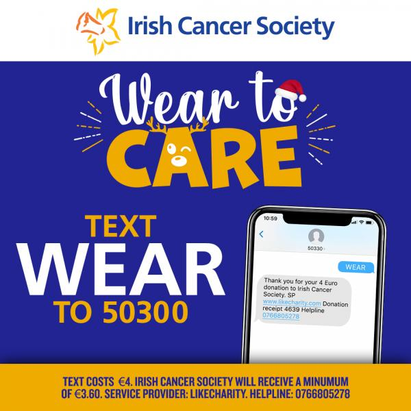 Wear to care text to donate