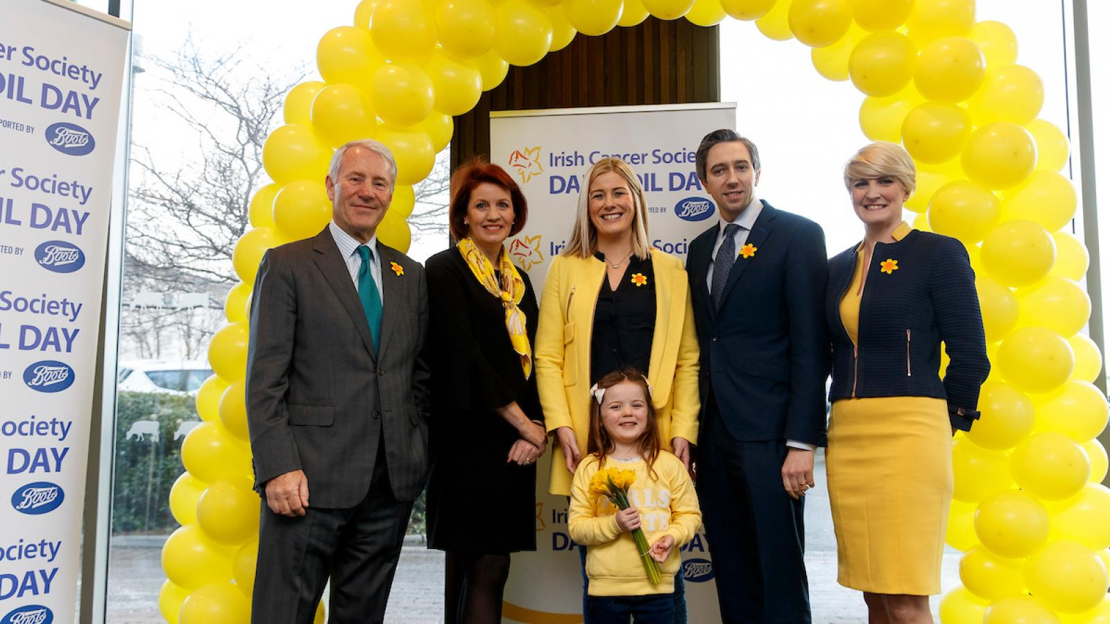 Dermot Breen, Averil Power and Simon Harris at Daffodil Day launch