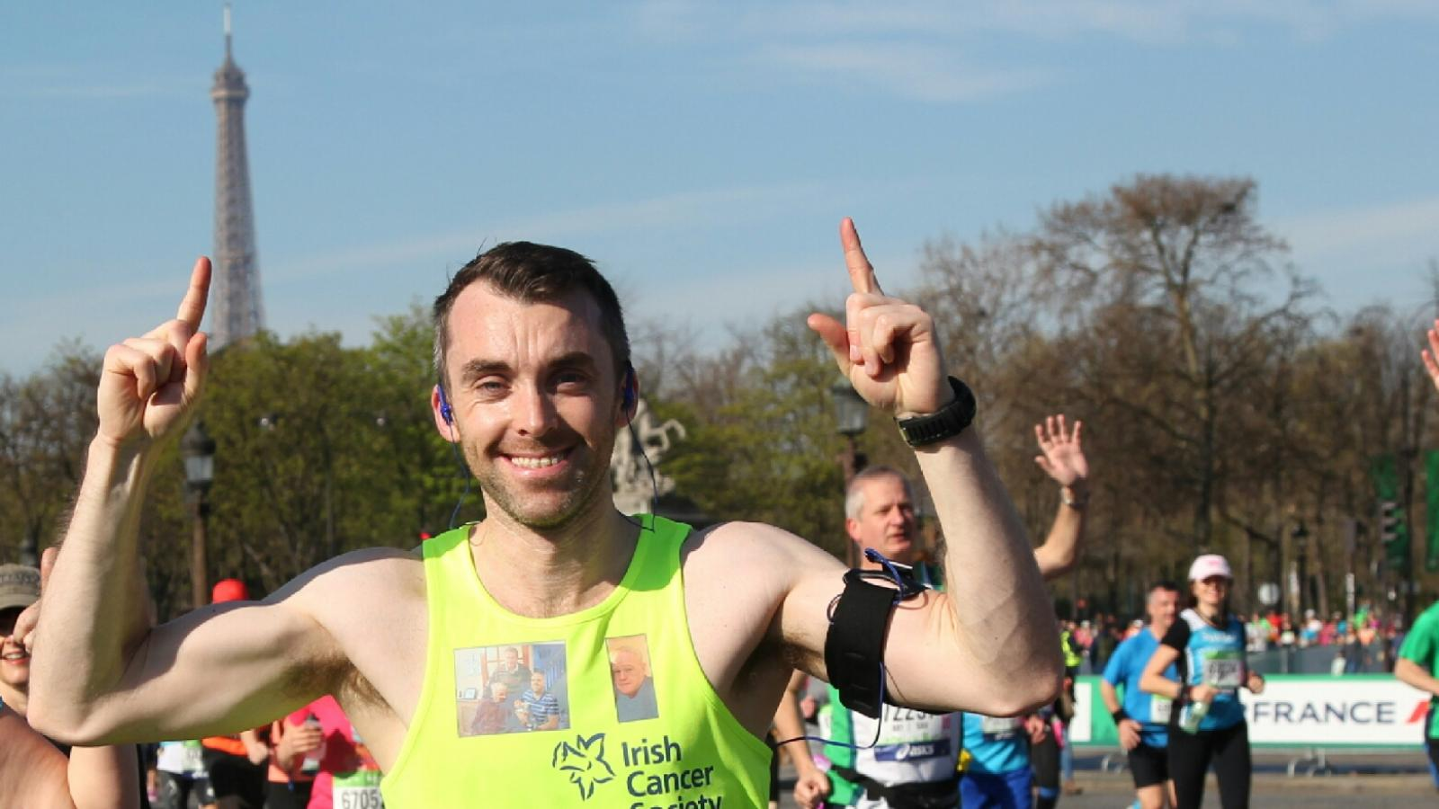 overseas marathon man running in paris