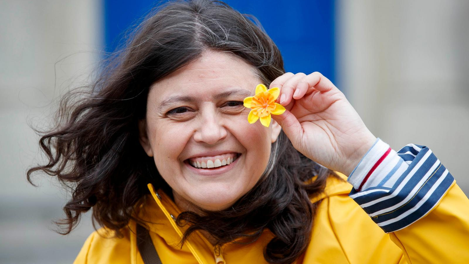 Smiling woman on Daffodil Day