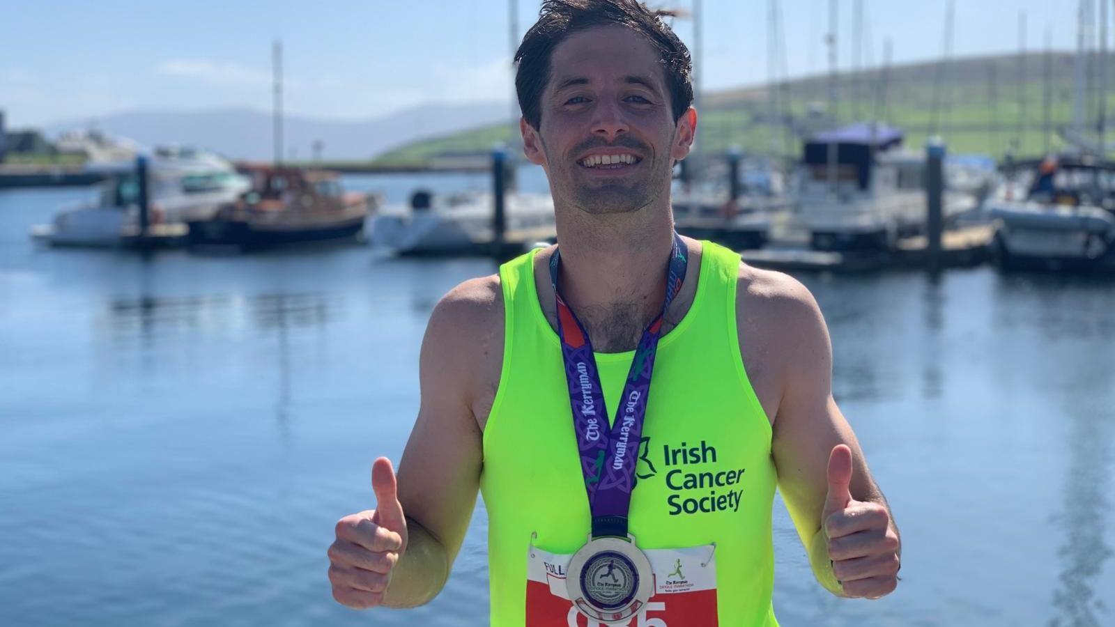 Fundraiser Chris taking part in the Dingle marathon for Irish Cancer Society