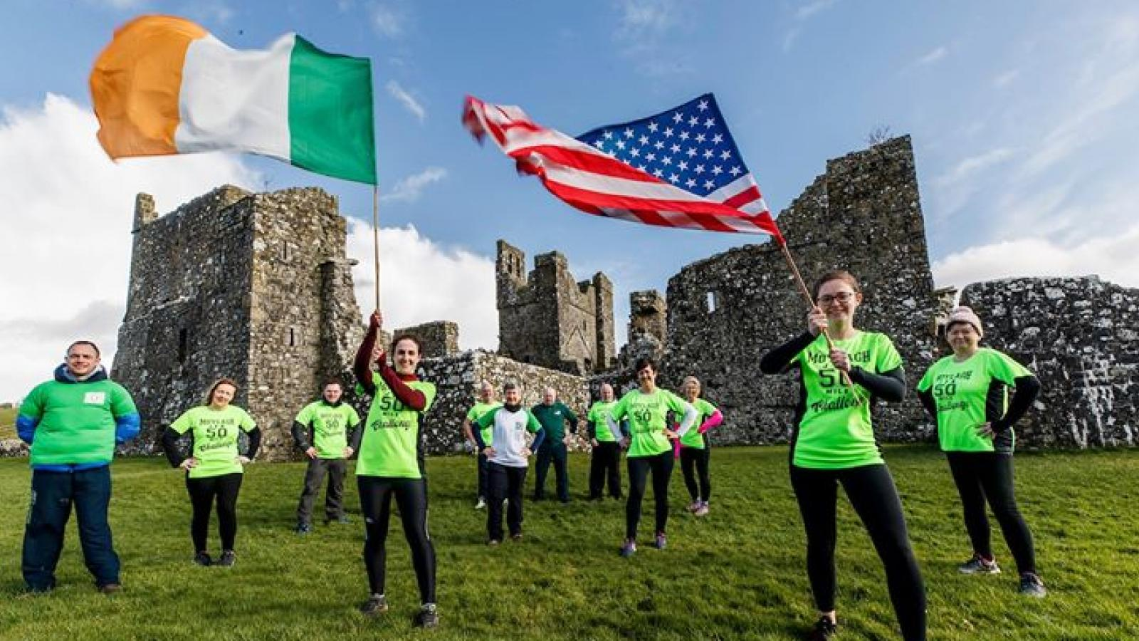 Participants with flags at Moylagh JFK 50 Mile Challenge