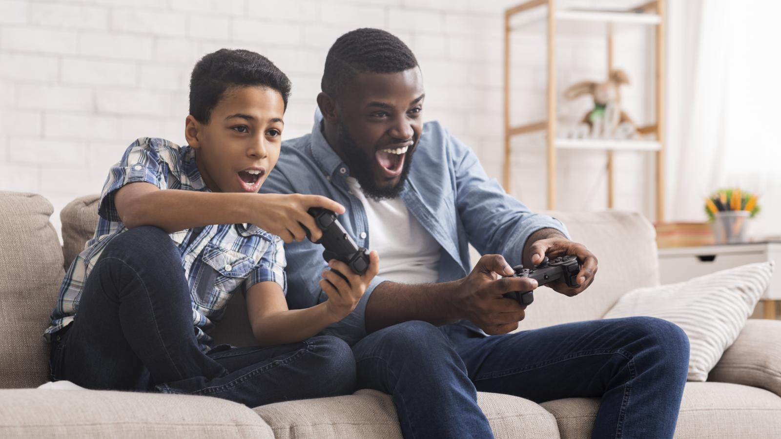 Father and son gaming