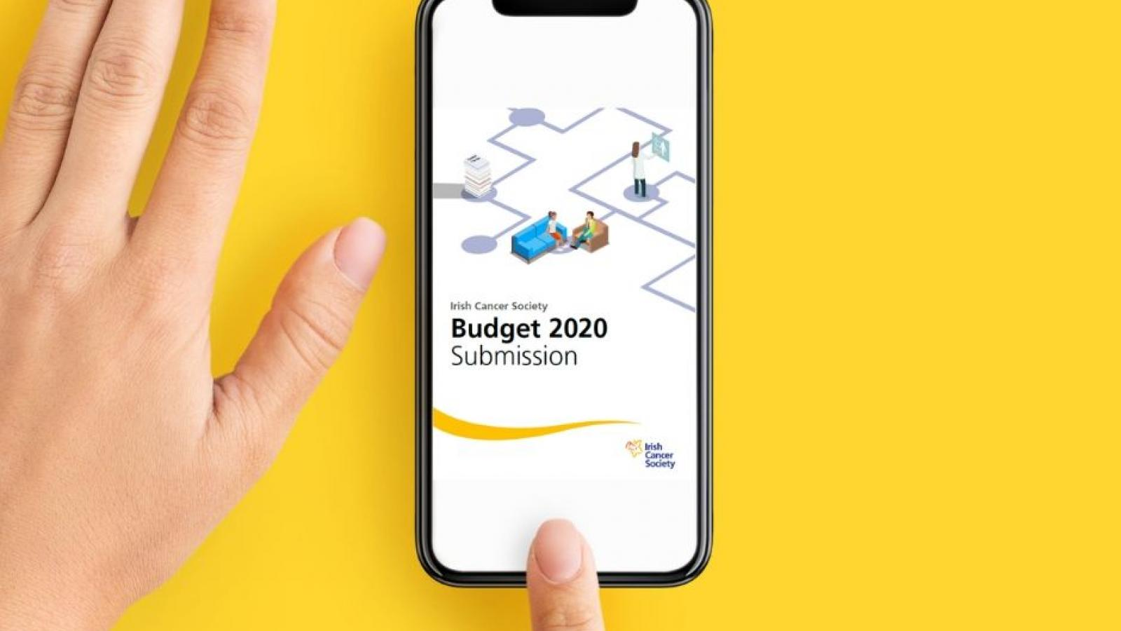 Smartphone screen showing Irish Cancer Society Budget 2020 Submission document