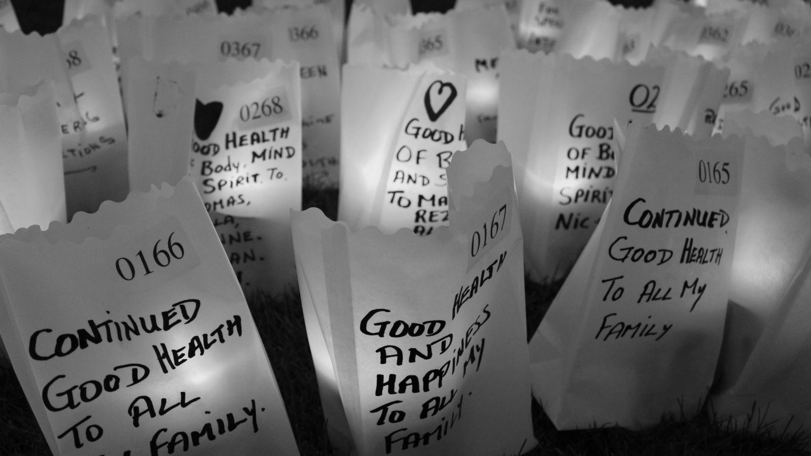 Relay For Life Candle of Hope bag with message written on it