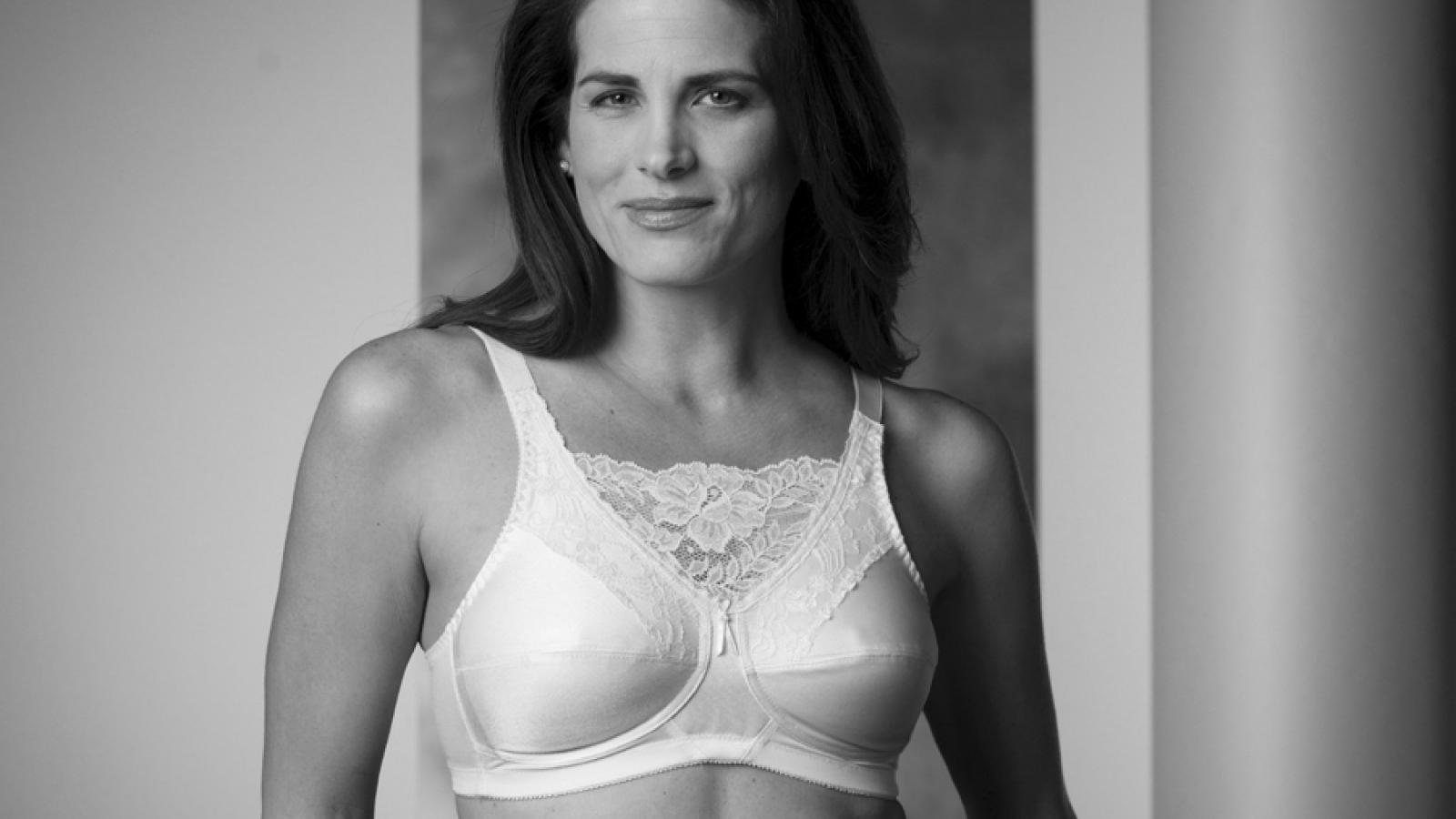 Woman in bra and prosthesis